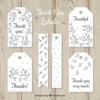 Colección de etiquetas blancas de agradecimiento