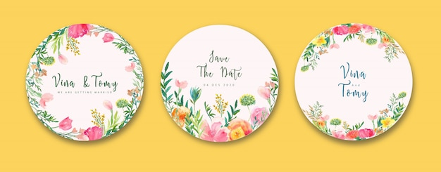 Colección de etiquetas de boda en acuarela floral estilo corona