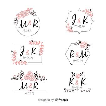 Colección de etiquetas de boda dibujados a mano