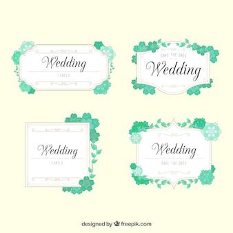 Colección de etiquetas de boda con hojas