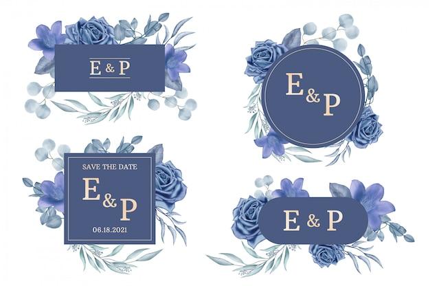 Colección de etiquetas de boda con marco floral acuarela