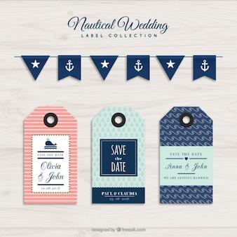 Colección de etiquetas para boda nautica