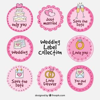 Colección de etiquetas de boda redondas rosas
