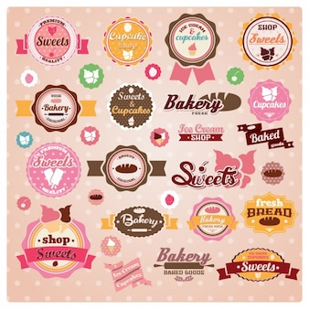Colección de etiquetas de bollería