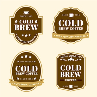 Colección de etiquetas de café cold brew