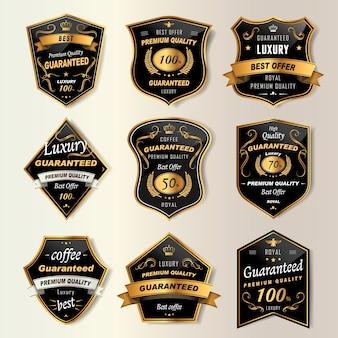 Colección de etiquetas de café premium en negro y dorado