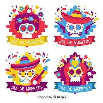 Colección de etiquetas de calaveras coloridas festivas