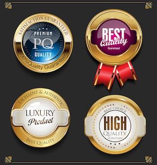 Colección de etiquetas de calidad premium doradas elegantes.