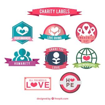 Colección de etiquetas de caridad a color