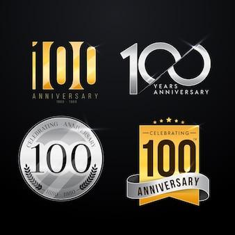 Colección de etiquetas cien aniversario