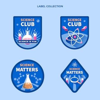 Colección de etiquetas de ciencia plana