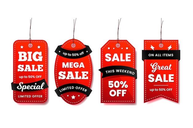 Colección de etiquetas colgantes en cintas rojas y negras
