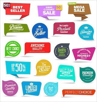 Colección de etiquetas de colores de venta y etiquetas