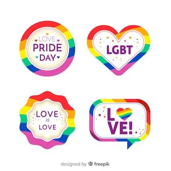 Colección de etiquetas coloridas del día del orgullo lgbt