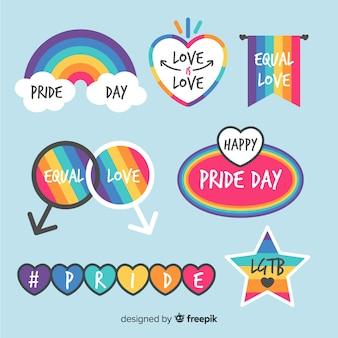 Colección etiquetas coloridas día del orgullo