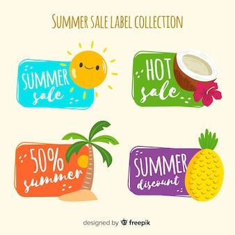 Colección de etiquetas coloridas de rebajas de verano
