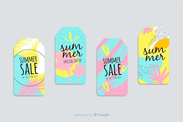 Colección etiquetas coloridas rebajas verano