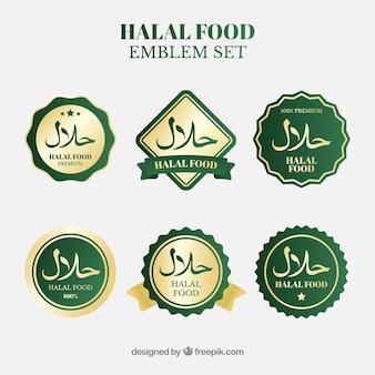 Colección de etiquetas de comida halal con estilo dorado