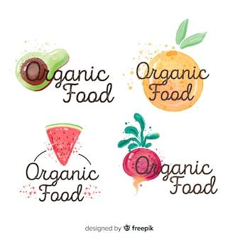 Colección etiquetas comida natural dibujadas a mano