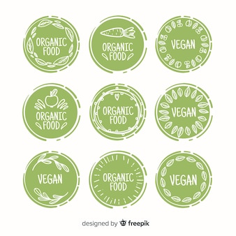 Colección etiquetas comida orgánica dibujada a mano