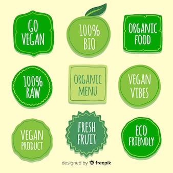 Colección de etiquetas de comida orgánica dibujadas a mano