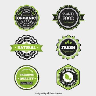 Colección de etiquetas de comida orgánica con diseño plano