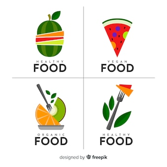 Colección etiquetas comida orgánica planas