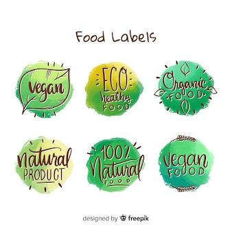 Colección etiquetas comida orgánica redondas