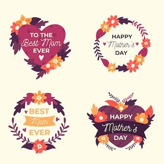 Colección de etiquetas con concepto del día de la madre