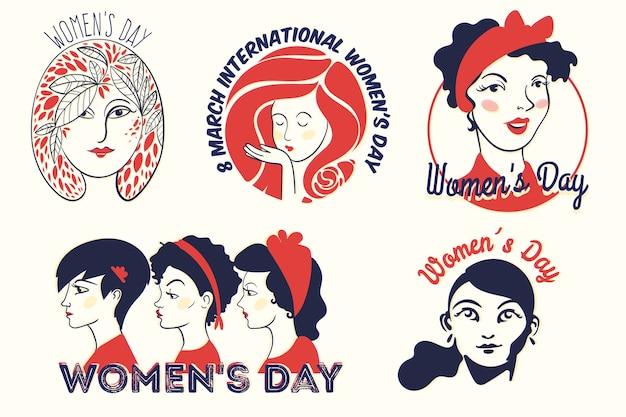 Colección de etiquetas con concepto del día de la mujer