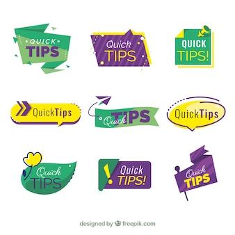 Colección de etiquetas de consejos en estilo plano
