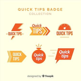Colección de etiquetas de consejos rápidos