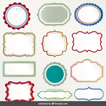 Colección de etiquetas con contornos coloridos