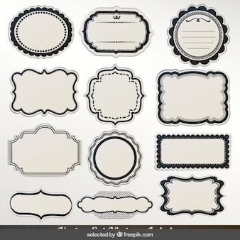 Colección de etiquetas con contornos negros