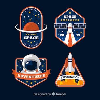Colección de etiquetas creativas del espacio