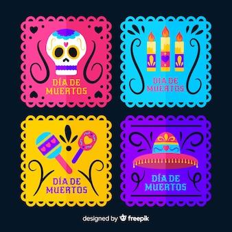 Colección de etiquetas cuadradas para el evento dia de muertos