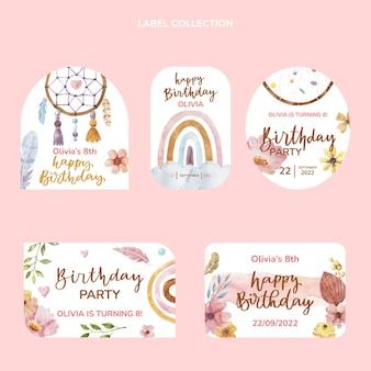Colección de etiquetas de cumpleaños de acuarela boho