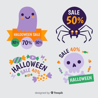 Colección de etiquetas de descuento de halloween