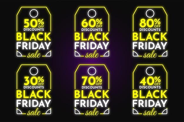 Colección de etiquetas de descuento de venta de viernes negro estilo neón diseño de vector premium