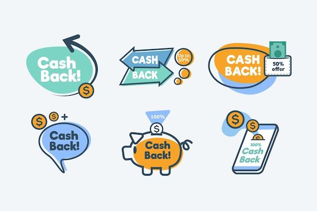 Colección de etiquetas de devolución de dinero