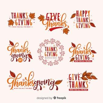 Colección de etiquetas de día de acción de gracias dibujadas a mano