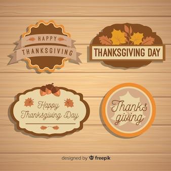 Colección de etiquetas del día de acción de gracias