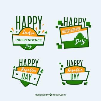 Colección de etiquetas del día de la independencia de india con diseño plano