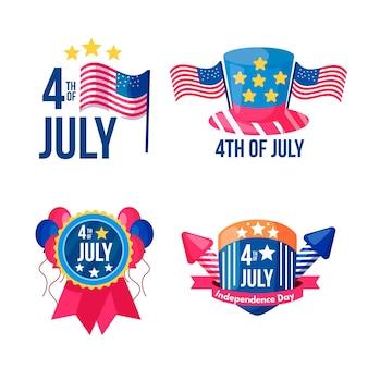 Colección de etiquetas del día de la independencia