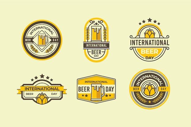 Colección de etiquetas del día internacional de la cerveza