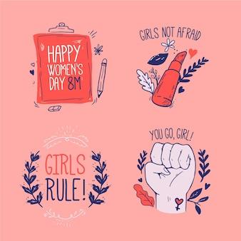 Colección de etiquetas del día internacional de la mujer dibujadas a mano