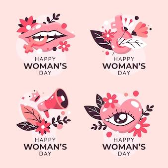 Colección de etiquetas del día internacional de la mujer dibujadas a mano.