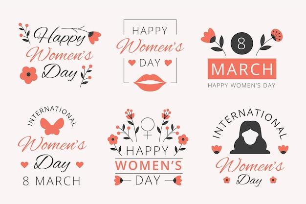 Colección de etiquetas del día internacional de la mujer en diseño plano