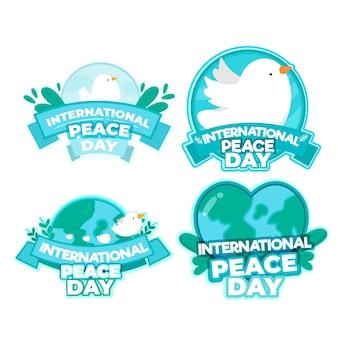 Colección de etiquetas del día internacional de la paz