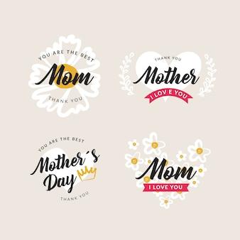 Colección de etiquetas del día de la madre dibujadas a mano